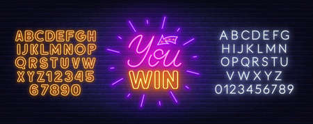You win neon sign on a brick wall background.