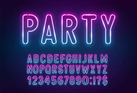 Gradient pink-blue neon light font on a dark background.