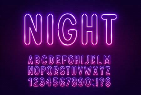 Gradient pink purple neon light font on a dark background.