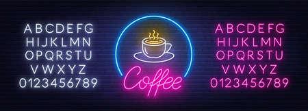 Coffee neon sign on brick wall background. 矢量图像