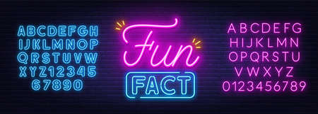 Fun Fact neon sign on brick wall background.