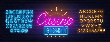 Casino night neon sign on brick wall background. Neon blue and yellow alphabet.