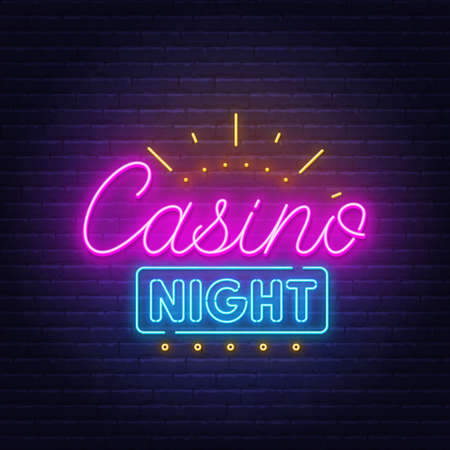 Casino night neon sign on brick wall background.