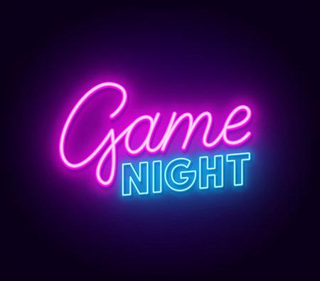 Game night neon sign on dark background. 矢量图像