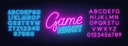 Game night neon sign on brick wall background. Neon blue and pink alphabet. 矢量图像