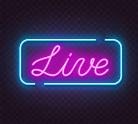 Live neon sign on a transparent background.