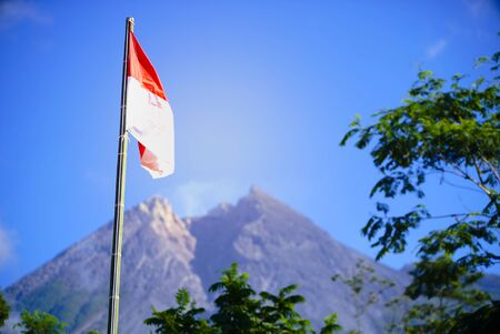 Indonesia Flag, Indonesia Independance Day with mt Merapi background