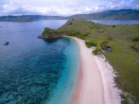 Aerial Pink Beach, Tropical Island