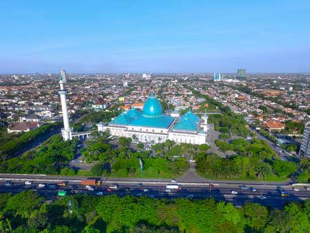Surabaya Indonesia June 2, 2020 : Aerial of Al Akbar mosque islamic center in Surabaya Indonesia Editorial