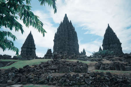 Yogyakarta Indonesia June 3 2020 : Prambanan temple is a Hindu temple compound included in world heritage list in the night. Monumental ancient architecture, carved stone walls. Editorial