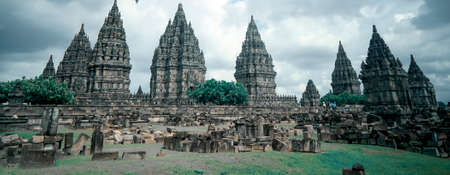 Yogyakarta Indonesia June 20 2020 : Prambanan temple is a Hindu temple compound included in world heritage list in the night. Monumental ancient architecture, carved stone walls.