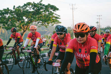 Lombok Indonesia June 17 2020 : Cycling competition, Sembalun challenge, Road Bike People participate in bicycle racing around the island Redactioneel