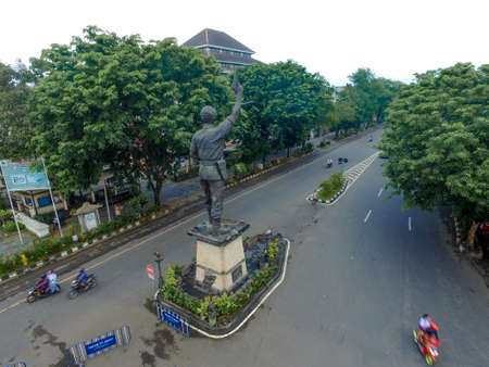 Surakarta Indonesia June 16 2020 : Aerial view landmark of surakarta, urban city of Surakarta in the morning. Selamet riyadi street