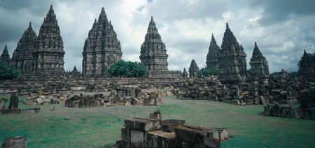 June 17 2020 Yogyakarta Indonesia : Prambanan temple is a Hindu temple compound included in world heritage. Monumental ancient architecture, carved stone walls. Editorial