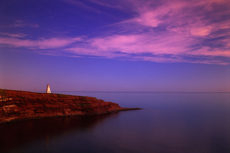 Cape Tryon Lighthouse and Gulf Of St.Lawrence at Sunrise, Cape Tyron, P.E.I., Canada