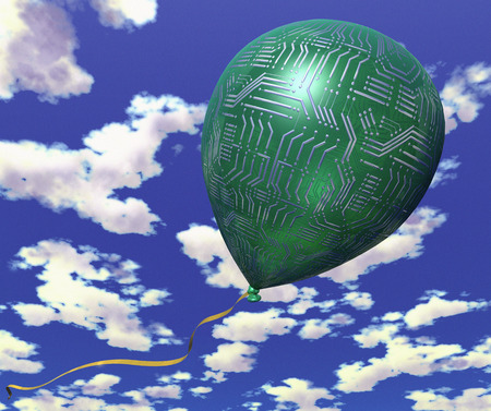 Circuit Board Balloon in Sky