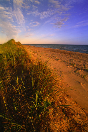 Sand Dunes, Grass and Beach, Blooming Point, Prince Edward Island National Park, Prince Edward Island, Canada