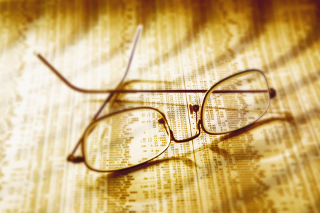 Close-Up of Eyeglasses on Financial Page
