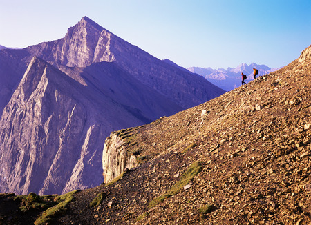canmore: Hikers Overlooking Canadian Rockies, Canmore, Alberta, Canada LANG_EVOIMAGES