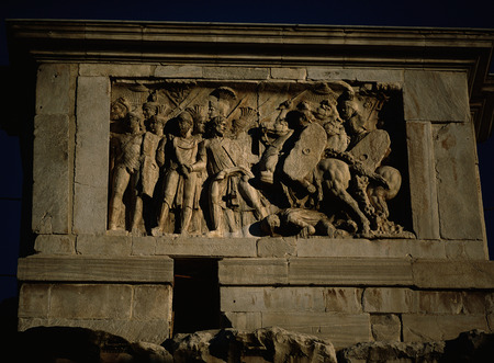 Close-Up of Relief Sculpture on Arch of Constantine, Rome, Italy LANG_EVOIMAGES