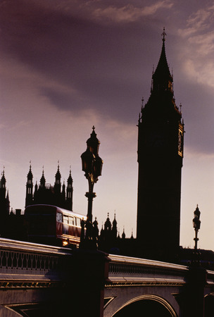 britannia: Big Ben and Double-Decker Bus at Dusk London, England LANG_EVOIMAGES