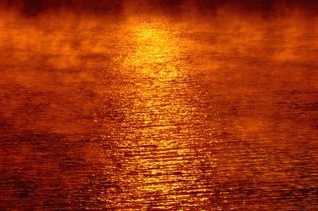 non: Fog At Sunrise, Lake Baskatong, Quebec, Canada