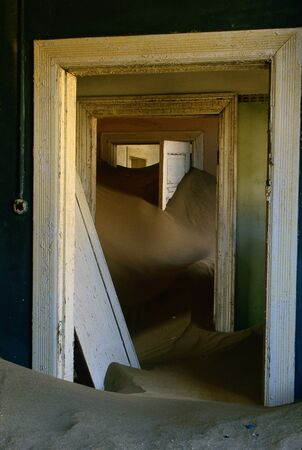 dilapidation: Interior of Abandoned Building, Kolmanskop Ghost Town, Namibia