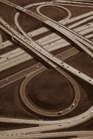 cloverleaf: Aerial View of Don Valley Parkway, 401 Interchange, Toronto, Ontario, Canada