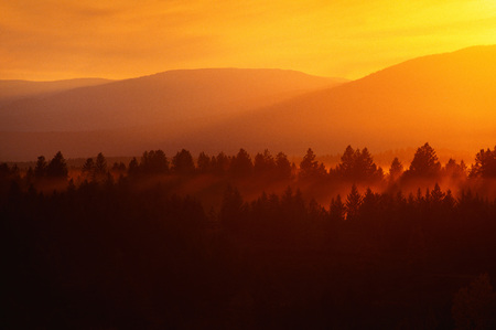 View From Hwy. 3 At Sunset, West Of Creston, British Columbia, Canada
