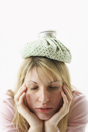 Woman with Ice Pack on Head
