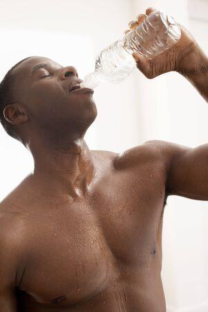 Portrait of Man Drinking Water