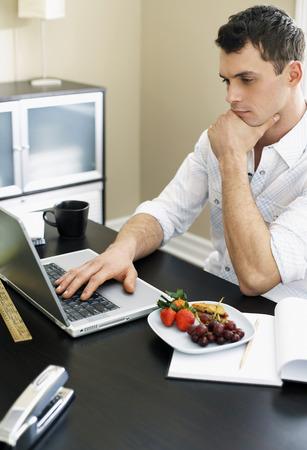 homeoffice: Man Using Laptop Computer