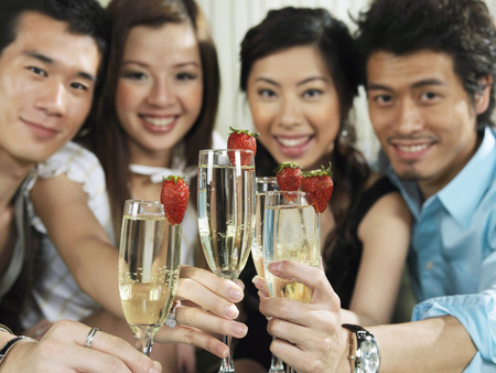 nightspot: Portrait of Group with Champagne And Strawberries