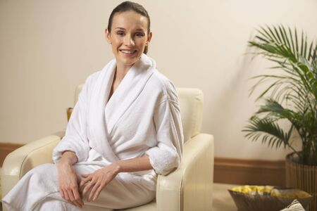 house robes: Portrait Of Woman in Bathrobe