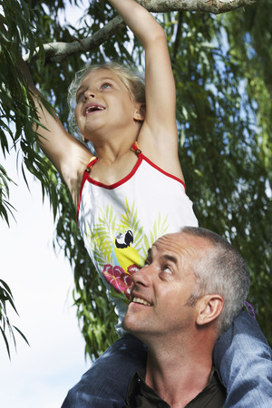 white backing: Father and Daughter Outdoors
