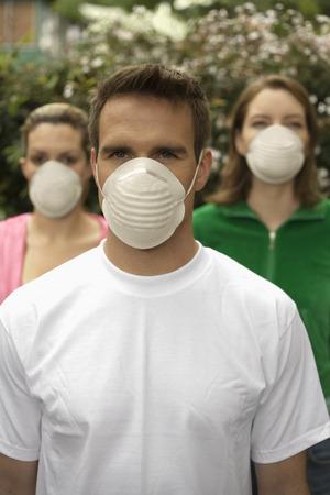ah1n1: Portrait of People Wearing Safety Masks