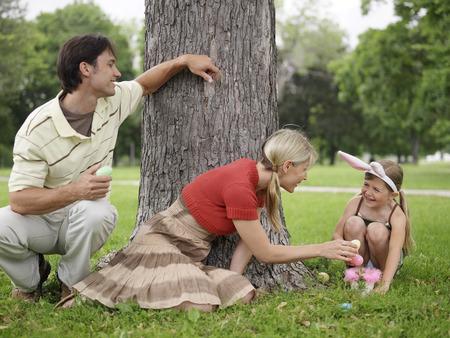 Family in Park, Easter Egg Hunt