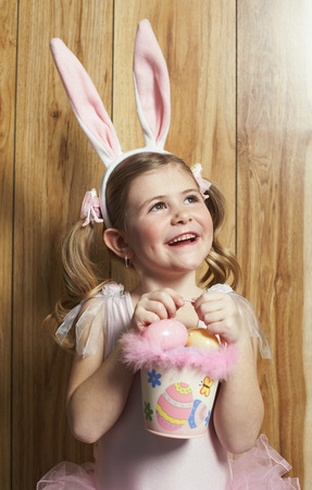 Girl Dressed as Ballerina, Carrying Easter Basket
