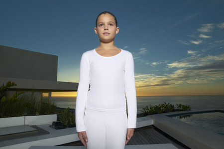 athletic wear: Portrait of Girl Standing on Patio