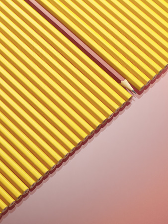 Row of Yellow Pencils With One Red Pencil