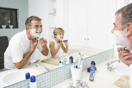 bathroom interior: Father Shaving with Son