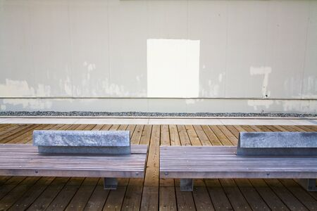 lonsdale: Benches and Wall, Lonsdale Quay, North Vancouver, British Columbia, Canada
