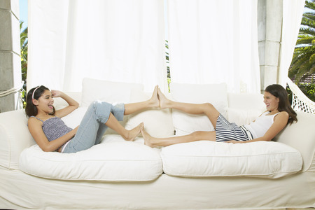 Girls Playing on Couch