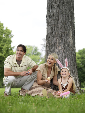 Family in Park, Easter Egg Hunt