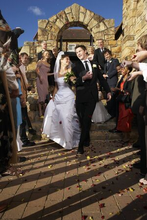 Newlyweds Leaving Church