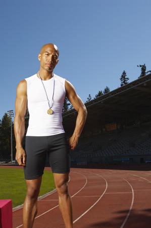 achievment: Portrait of Athlete Wearing Medal