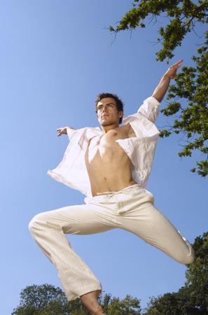 Man Leaping Through the Air