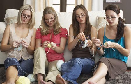 family sofa: Women Knitting