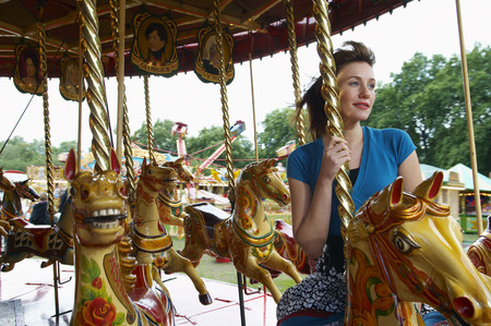 Woman on Merry-Go-Round, Carters Steam Fair LANG_EVOIMAGES