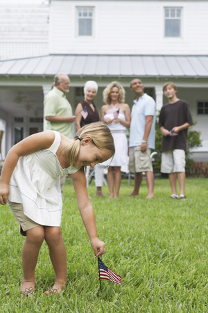 grampa: Portrait of Girl Outdoors with Family